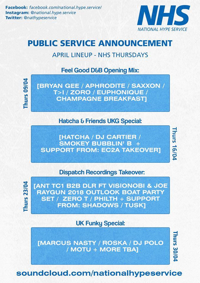 NHS April Schedule
